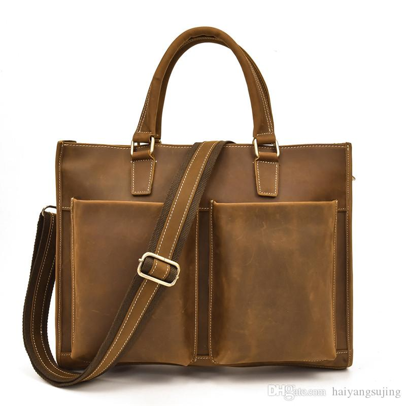 Crazy Horse Leather Men Shoulder Messenger Bag Computer Designer Handbags Genuine First layer Cowhide Man Travel Crossbody Bags briefcase