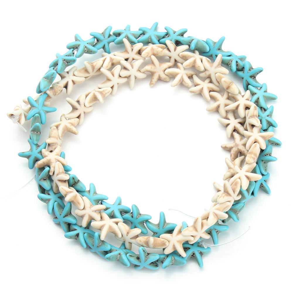 Circa 38 pz / pacco 1,3 cm * 1,3 cm Starfish Distanziatore allentato Blu Bianco Turchese Perline Piccole perline FAI DA TE