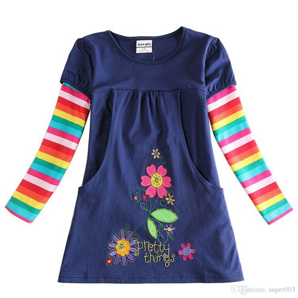 NEAT NOVA Top 2018 retail newest design baby girls flower frocks clothes hot baby long sleeve T-shirt baby kids clothes H5802