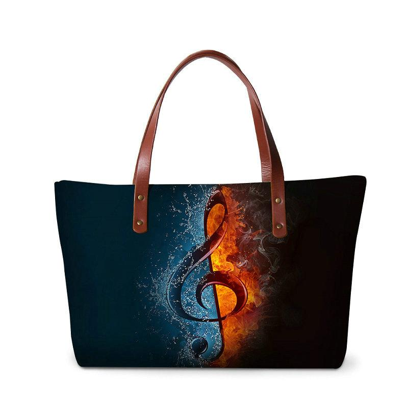 Women's Handbags Bags For Gift Musical Note Printing OL Style Top-handle Bag For Women High Quality Neoprene Ladies Party Wedding Totes Sac