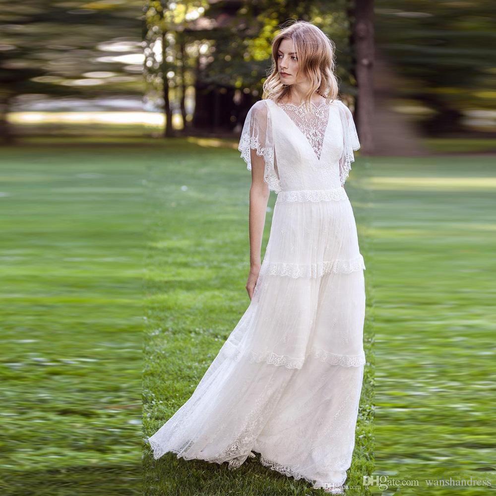 Abiti da sposa da spiaggia a line in pizzo con scollo a barchetta a maniche corte abito da sposa country boho vestido de novia