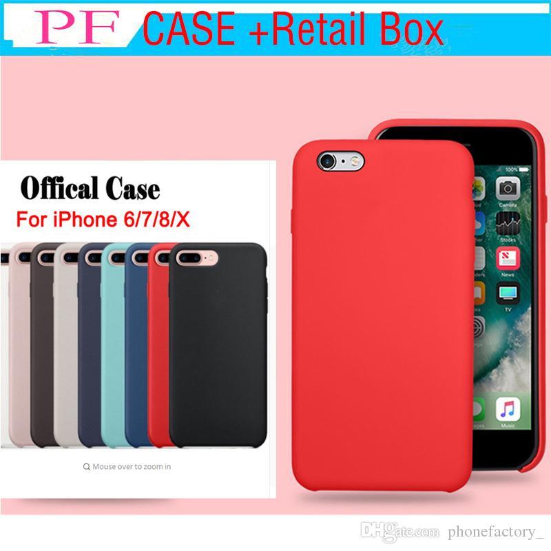 La funda de silicona original tiene LOGO para el iPhone XR XS XS MAX 7 8 Plus Funda de silicona para iPhone 6 6 Plus Para Apple Retail Box