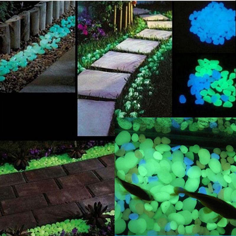 Bakhuk 100 Pcs Bleu / Vert Lueur Pierre Dans Le Bleu Galet Lueur Sombre  Pour Jardin Passerelle Et Décor