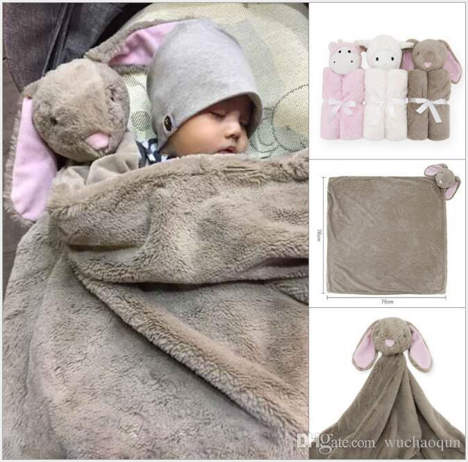 2018 Kids INS Crystal velvet rabbit bear Blankets elephant Blankets Winter Warm infant Swaddling cartoon baby bed sheet Sleeping Bag