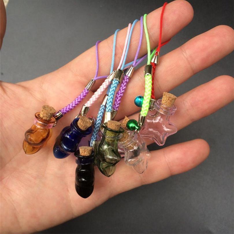 Mini Stars Bottles Crafts with Nylon Rope Key Chains Mini Bracelets Jars Glass BottlesCrafts Mixed Color 7pcs Free Shipping (2)