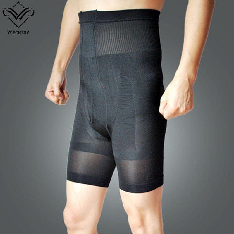 Erkekler için toptan Siyah Kontrol Pantolon Shapewear Yüksek Bel Zayıflama Iç Çamaşırı Dikişsiz Külot Boxer Karın Şekillendiriciler