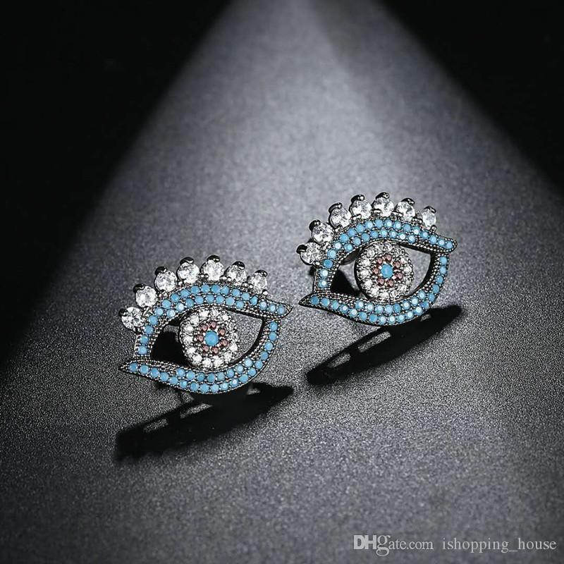 Nowy Summer Moda Kobiety Biżuteria Czarny Pozłacany Blue CZ Oczy Kąt Kolczyki Studia Dla Dziewczyn Kobiet Słodki Prezent