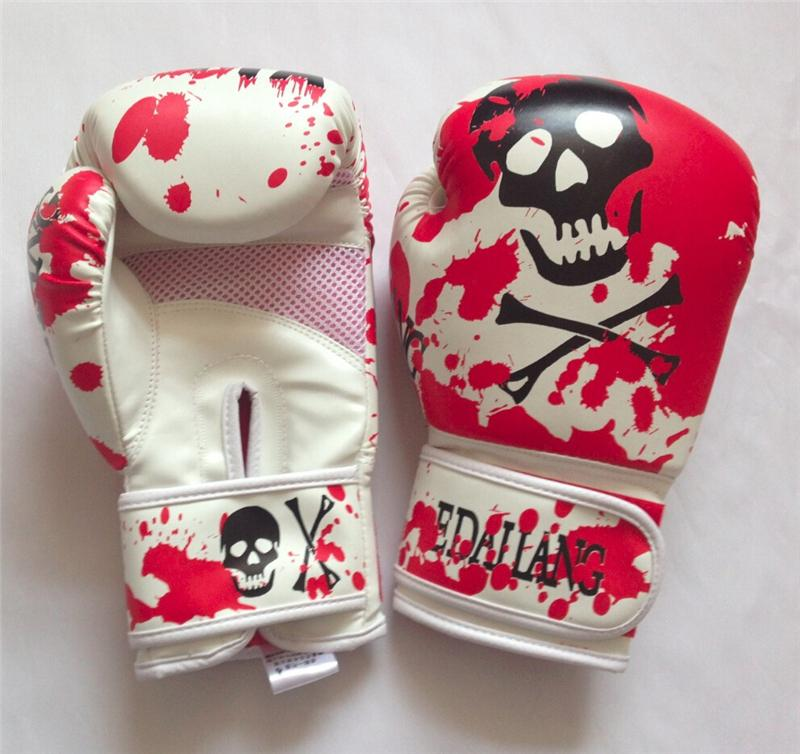 Fitness Supplies Skulls Womens Mens Boxing Gloves for Muay Thai MMA Karate Taekwondo Guantes 10 Ounce Luva De Fighting Gloves Gear