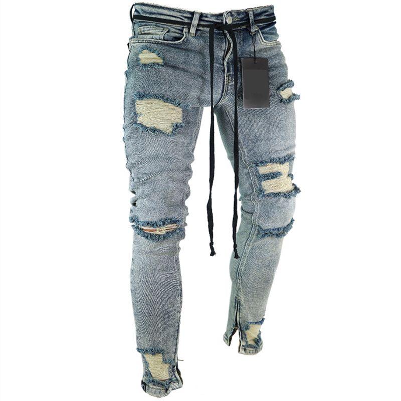 Compre Euro Americano De Moda Streetwear Hombres De Jeans Ajustados Fit Destruido Jeans Rasgados Pantalones Rotos Homme Hombres De Hip Hop A 17 05 Del Vintageclothing Dhgate Com