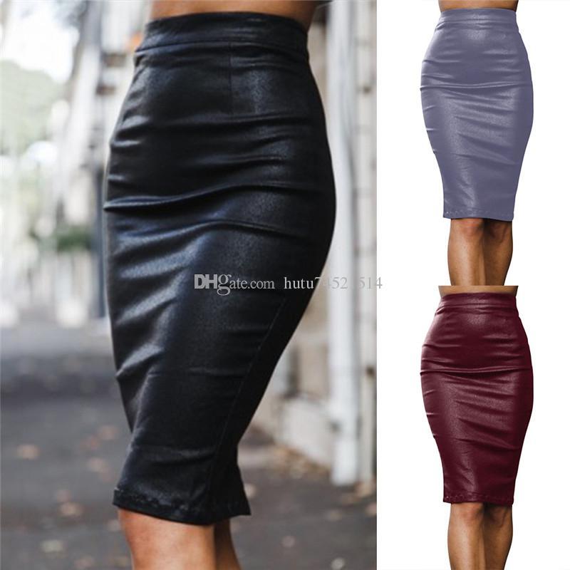 Женщины Кожа PU Длинные юбки Сплошной цвет высокой талией Тонкий Hip карандаш Юбки Vintage Bodycon юбка Sexy Clubwear