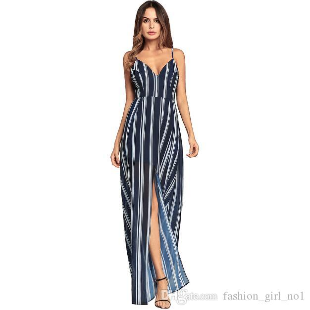 2018 new women's Spring Bohemian Lace Stripe Irregular Split Long Skirt Chiffon Sexy Sling V-neck Dress