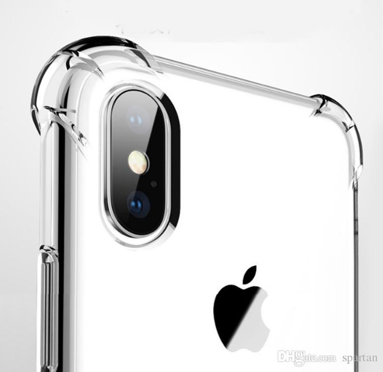 Custodia trasparente in TPU antiurto per iPhone 13 12 11 Pro Max X XR 6 7 8 Plus TRASPARENTE GEL MOBILE TRASPARENTE Quattro Corners Protector Cover posteriore per S21 S10 Plus