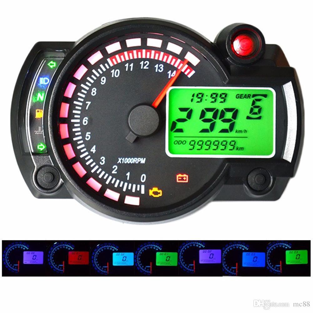 299 MPH / KPH 7 색 조절 오토바이 타코미터 디지털 속도계 LCD 디지털 주행 범용 오토바이 범용