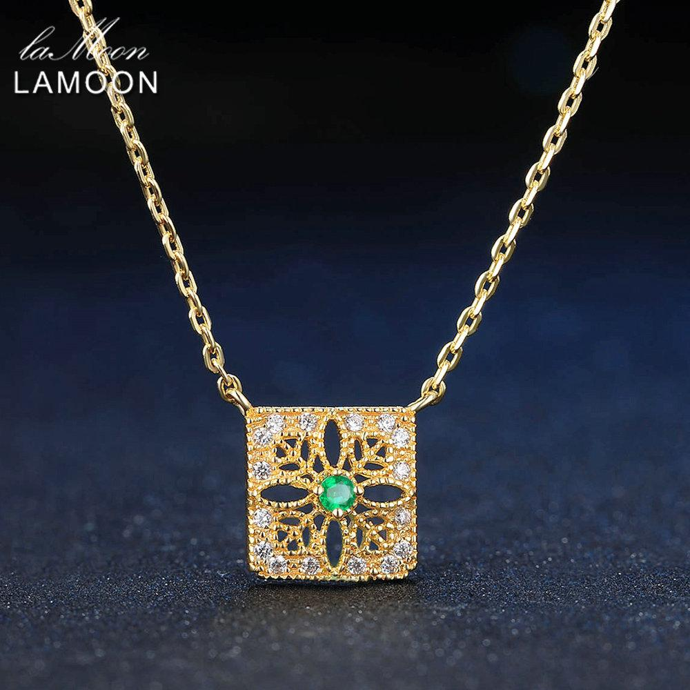 LAMOON 2mm 0.06ct 100% Natural Emerald 925 Sterling Silver Jewelry 14K Yellow Gold Plated Chain Pendant Necklace S925 LMNI018Y1882701