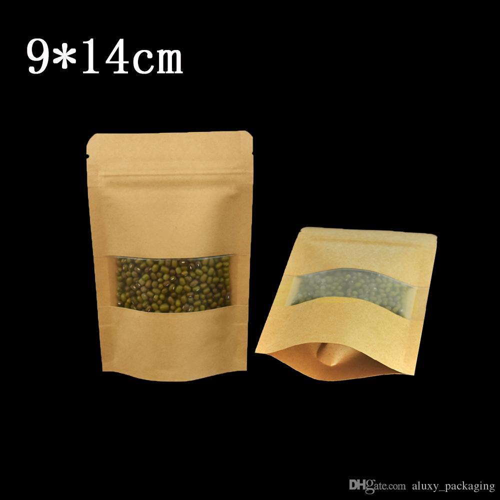 50 sztuk / partia 9 * 14 cm Heat Blenible Stand Up Brown Kraft Paper Torba z Matte Wyczyść okno Party żywności Suszone Nakrętki wołowe Wrap Pokolenie