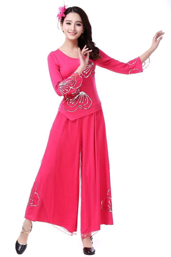 Stage Wear 2021 Spring And Summer Ladies Square Dance Costume Suit Embroidered Middle-aged Costumes Performance M-6XL