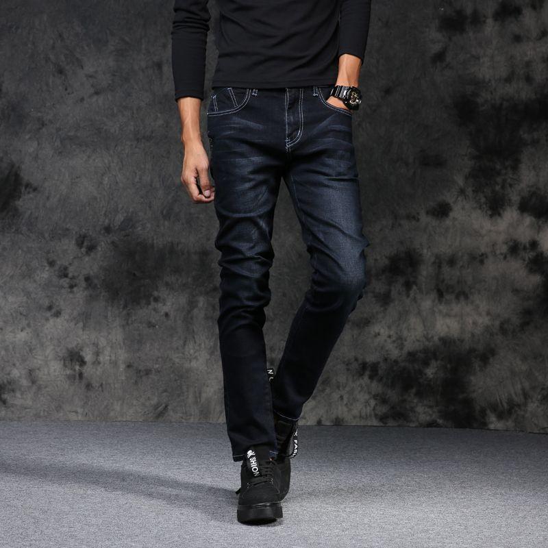 Jeans Hombres 2018 Nueva Moda Estilo Coreano High Street Slim Fit Botón Personalidad Vintage Clásico Pantalones de mezclilla Pantalones