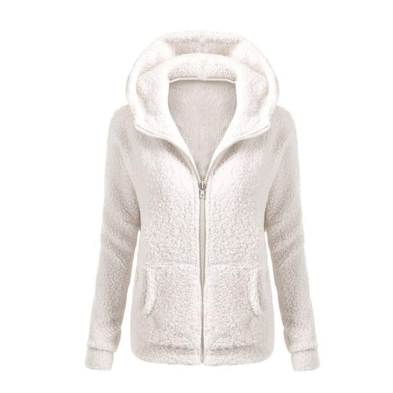 Femmes épaississent polaire hiver automne veste chaude à capuche zipper pardessus élégant vêtements de plein air femme solide couleur douce vestes S18101102