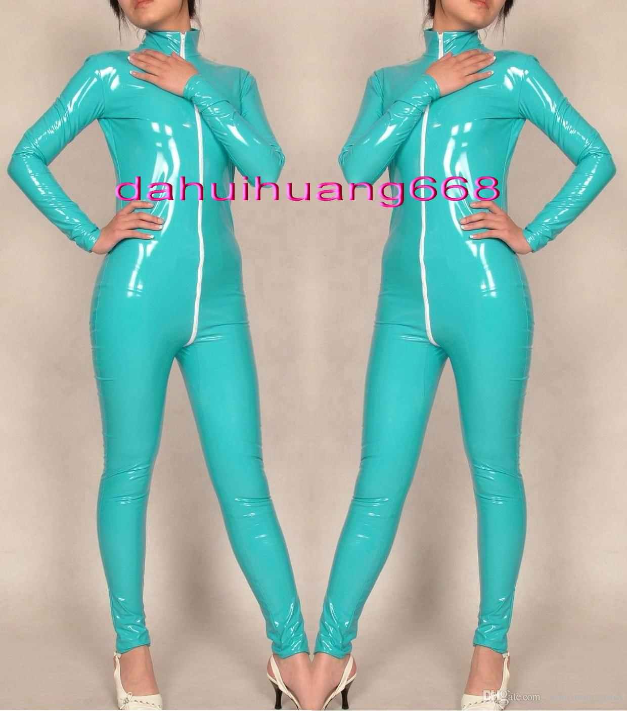 Lake Blue Shiny PVC Catsuit Costumes Unisex Shiny Lake Blue PVC Body Suit Unisex Sexy PVC Bodysuit leotard Costumes With Long Zip DH179