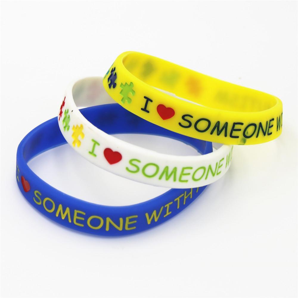 3PCS / lot alguém amor de I com autismo Silicone Pulseira Alerta Jóias enigma Silicone BraceletsBangles Adultos presente SH147