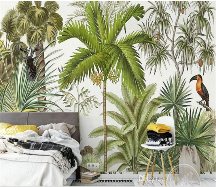Large Custom Wallpaper Tropical Rainforest Green Plant Flower Bird Oil Painting Background Wall Living Room Bedroom