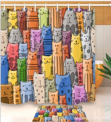 새로운 귀여운 고양이 샤워 커튼 사용자 정의 만화 패턴 아이를위한 3D 인쇄 욕실 커튼 방수 폴리 에스터 직물 목욕 앞마당 매트