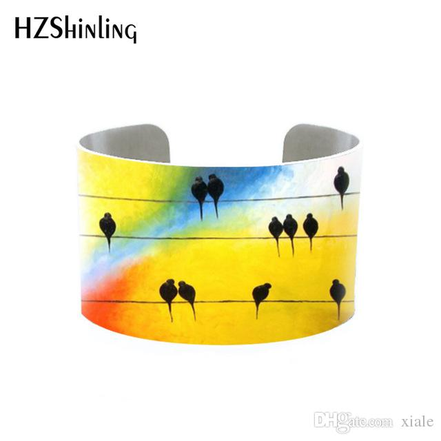 Trendy Funky Birds on Trees Bangle Metal Cuff Colorful Birds Painting Bracelet Adjustable Bangles Printed Jewelry Gifts Men Hallows' Da