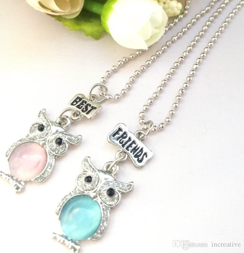 Kids Jewelry Children Best Friends Necklace Pink Blue Glitter Owl Pendant BFF Wedding Necklace Jewelry Gifts For Kids 5 Set