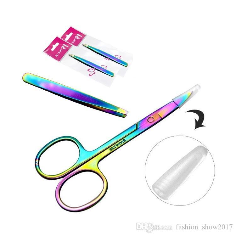 Professionelle Regenbogen Farbe Edelstahl Augenbrauen Pinzette Augenbrauen Mini Schere Clip Antistatische Gesicht Haarentferner Werkzeug