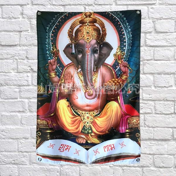 Индия слон Бог флаг баннер известное искусство живопись украшения дома висит флаг 4 Gromments в углах 3*5FT 144 см*96 см