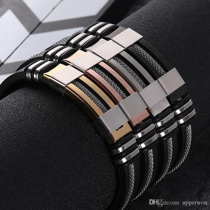 Mens Bracciali Acciaio inox satinato nero silicone Bracciali Charm Bracelet maschio braccialetto per gli uomini JewelryGold / nero / argento / rosa color oro