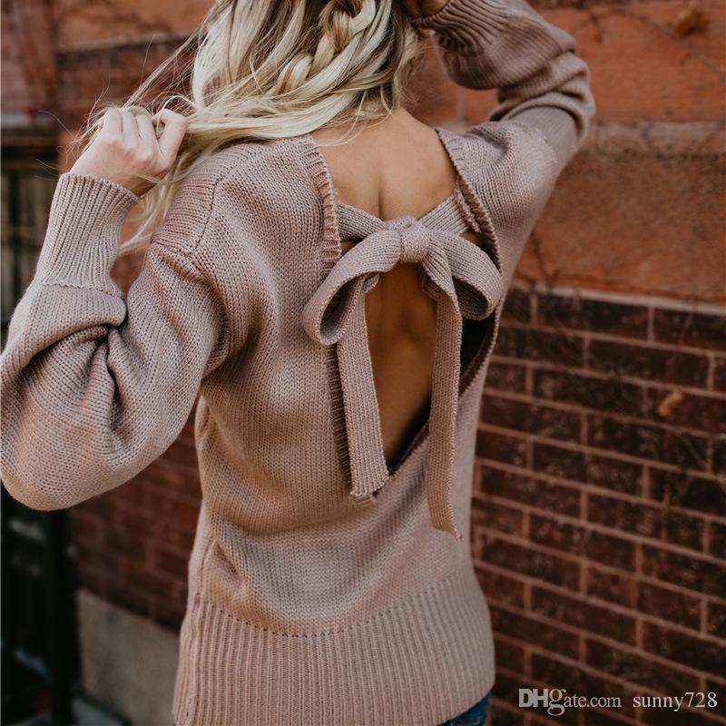 가을 새로운 디자인 패션 바지 Backless 여성 풀오버 스웨터 크루 넥 긴 소매 섹시한 숙녀 니트 스웨터 캐주얼 탑 2018 고품질