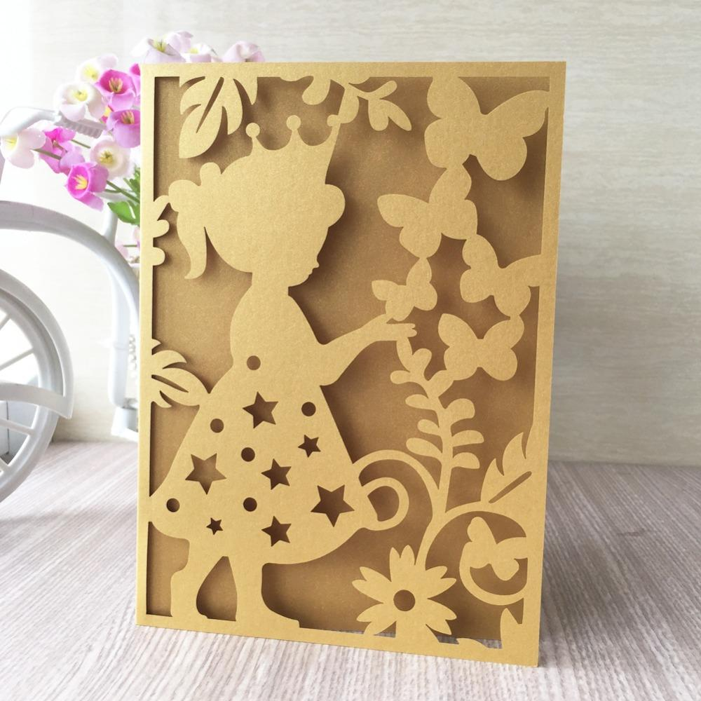 25pcs Beautiful Girl Pattern Laser Cut Invitation Card Decorazioni per feste di compleanno Grazie Rewards Gift Greeting Card