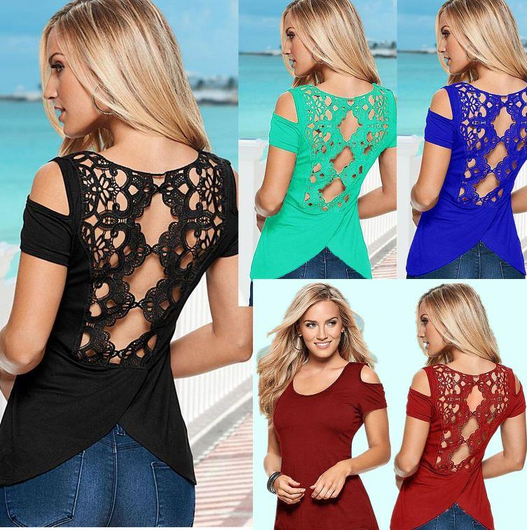2018 New Summer and Spring Womens Tops Tees Sexy irregular Hollow Out lace Flowers stitching Strapless patchwork short sleeve T-shirt S-5XL