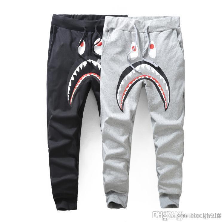Shark pantalones de los hombres pantalones de la manera Harem Otoño Invierno Fleece deportiva pantalones largos del basculador Correr Sweatpant