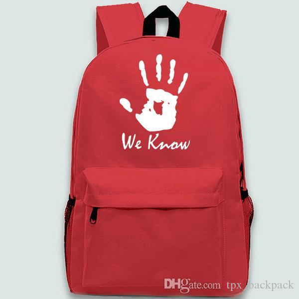 نحن نعرف على ظهره حزمة اليد يوم بارد حقيبة مدرسية أوقات الفراغ packsack نقية أسود أحمر أزرق حقيبة الظهر الرياضة المدرسية daypack في الهواء الطلق
