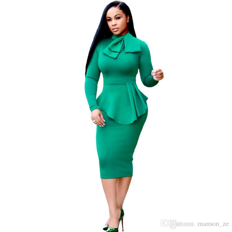 Women Winter Elegant Front Zip Up Pleated Ruched Peplum Long Sleeve Wear To  Work Office Business Party Sheath Dress Plus Size Bodycon Dress Summer ...