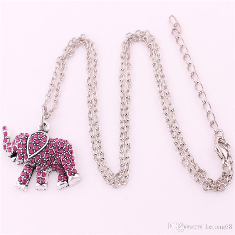 Special Charm Necklace For Unisex Animal Elephant Pendant With Pink Crystals And Link Chain Zinc Alloy Provide Dropshipping