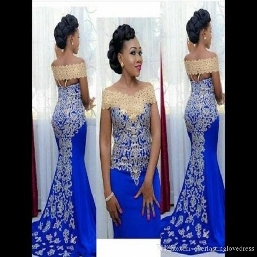 Nude Royal Blue Satin Lace Off l'épaule robe de soirée africaine dernières conceptions de dentelle et ankara abiti da sera lunghi