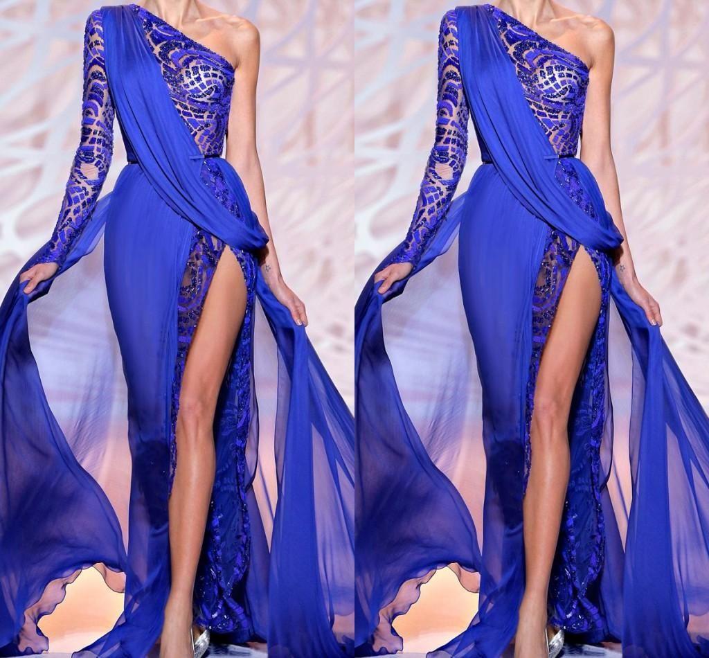 Zuhair Murad 2019 Royal Blue Evening Dresses One Shoulder Sheer Royal Blue High Side Slit Lace Crystal Prom Party Gowns Formal Dress BO9766