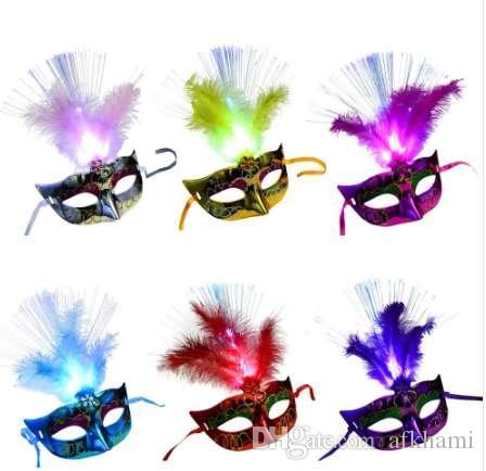Mulheres Venetian Veneza Pena Máscara Luminosa Masquerade Máscara de Festa de Despedida de solteira Fancy Dress Máscaras Máscara de Carnaval Máscara de Carnaval