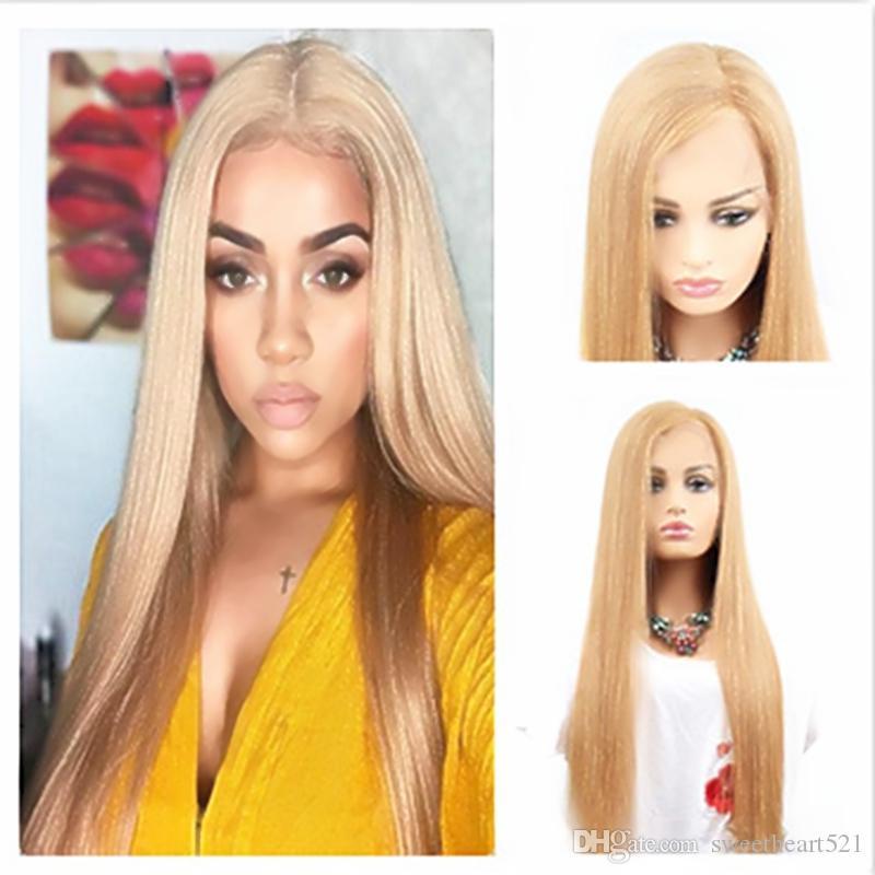 Милая высокая температура волокна длинные светлые прямые парики натуральный волосяного покрова без клея синтетические кружева передние парики для женщин средней части 180%