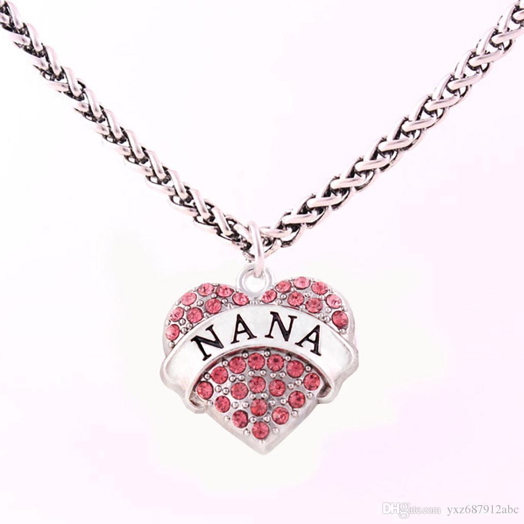 El último estilo NANA Colgante Cristal Claro Collares de Corazón Regalo de Joyería Para Madres Joyería Servicio de Garantía de Comercio