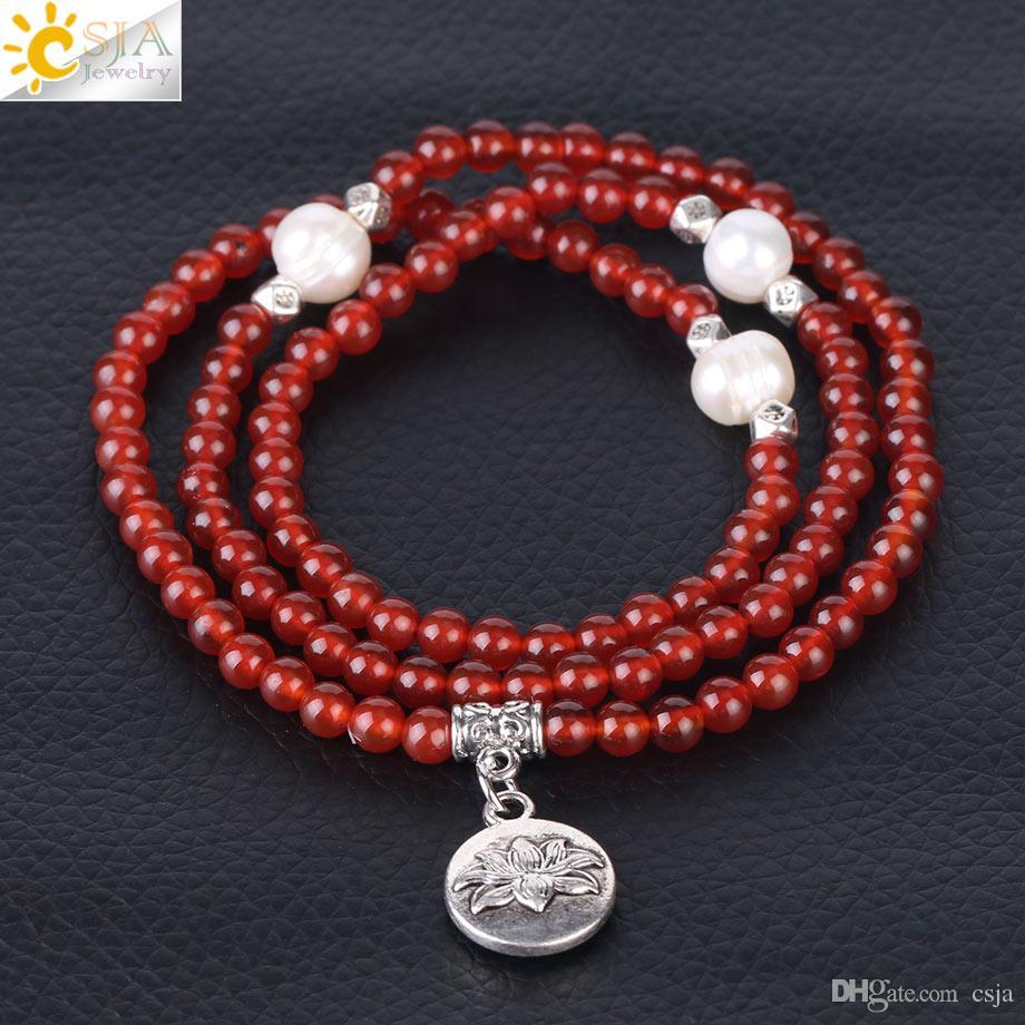 CSJA Women Pearl Bracelet 4mm Natural Stone Gemstone Beaded Jewelry 108 Mala Beads Meditation Prayer Retro Silver Lotus Charm Bracelets F357