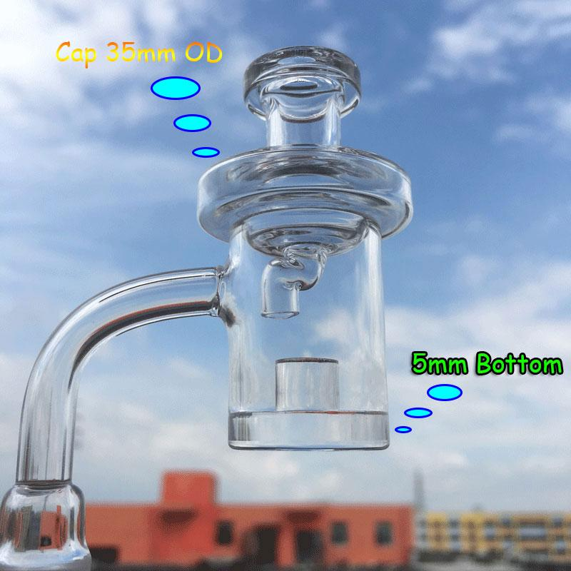 5mm Thick Bottom Quartz Core Reactor Banger With Glass Crank Carb Caps 10mm 14mm 18mm Quartz Thermal Banger Nails For Bongs Water Pipes