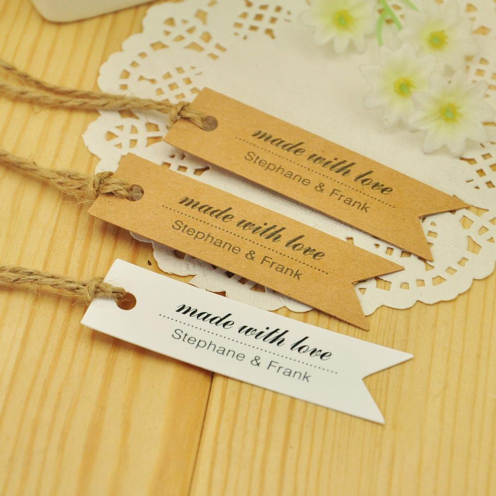 100PCS Made With Love Customized Tag Personalized Handmade Favor Gift Tag-TAG-23