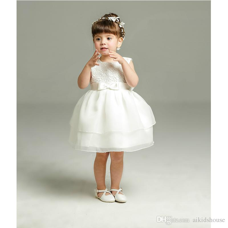 Compre Venta Al Por Menor 0 2 Años Vestido De Niña Recién Nacida Vestido De Bautizo Blanco Fiesta De Cumpleaños Bebé Ropa De Gasa Tutu Tul Ropa Para