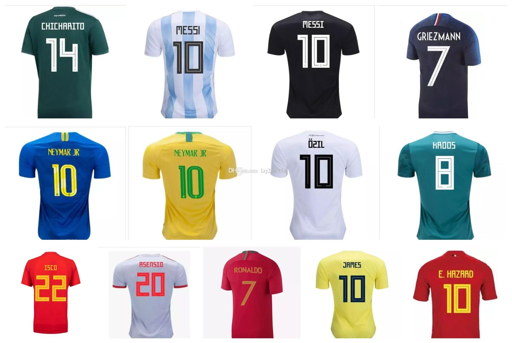 brand new 3ba06 12f53 2018 2018 World Cup Soccer Jerseys,Chandal Spain Mexico Argentina Messi  Jersey 18 19 Colombia Belgium Brazil Mbappé Ronaldo Football Shirt 4xl From  ...