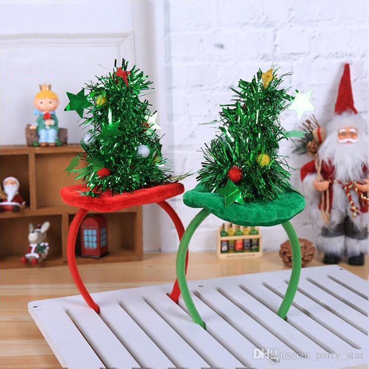 Chaude Rouge Vert Arbre De Noël Conception Bandeau Taille Gratuite Parti Personnalité Bandeau Accessoires Adulte Enfants Bandeau Décorations