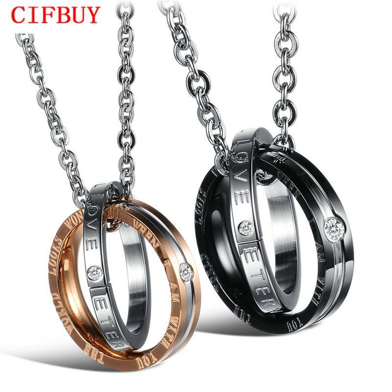 CIFBUY JOAILLERIE Livraison gratuite StyleTitanium romantique collier couple acier, Pendent Collier, Gravez mots d'amour 831